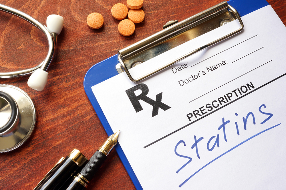 photo illustration of statins with Rx