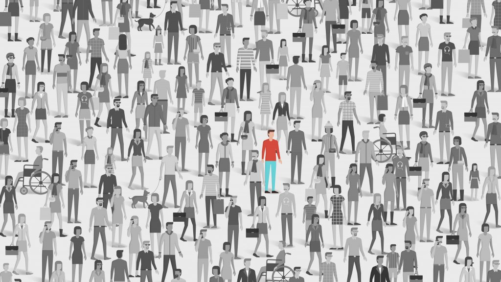 Illustration of individual standing out in a crowd